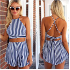 Set of 2: Stripe Halter Crop Top + Stripe Shorts 1596