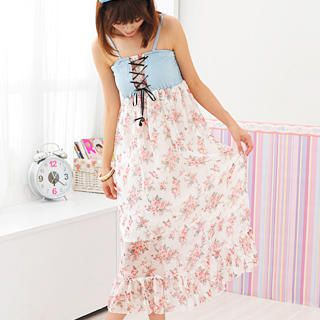 Buy 59 Seconds Lace-Up Floral Chiffon Maxi Dress Light Blue and White – One Size 1022554449