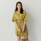 Short-Sleeve Tie-Waist Dress 1596