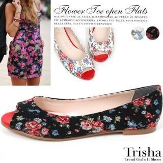 Buy Trisha Open-Toe Floral Print Flats 1022562682