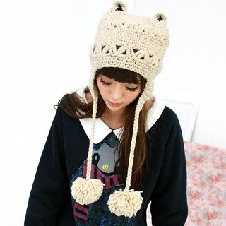 Cat-Ear Pompom Beanie Beige - One Size