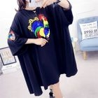 Sequined Rooster 3/4-Sleeve T-Shirt Dress 1596