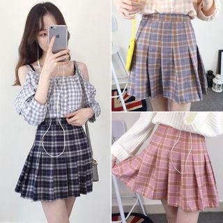 Plaid Pleated Mini Skirt 1053282795