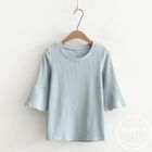 Ribbed Elbow-Sleeve T-Shirt 1596