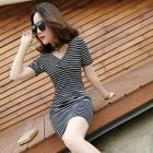 Short-Sleeve Tie-Waist Striped V-Neck Dress 1596
