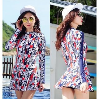 Printed Long-Sleeve Swimdress 1064698505