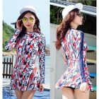 Printed Long-Sleeve Swimdress 1596