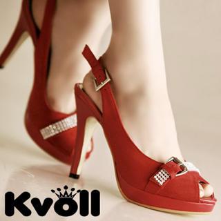 Buy Kvoll Rhinestone Belted Peep-Toe Slingback Stilettos 1022512442