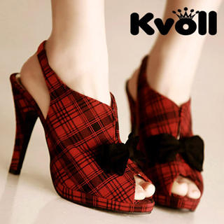 Buy Kvoll Bow Peep-Toe Plaid Platform Slingback Stillettos 1022512483
