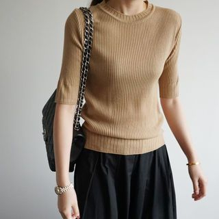 Round-Neck Ribbed Knit Top 1062151166