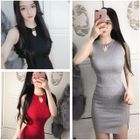 Keyhole Front Halter Ribbed Bodycon Dress 1596