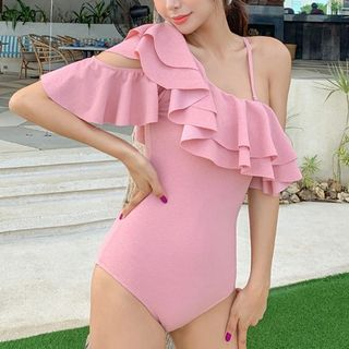 Image of Asymmetric Cold-Shoulder Ruffled Swimsuit