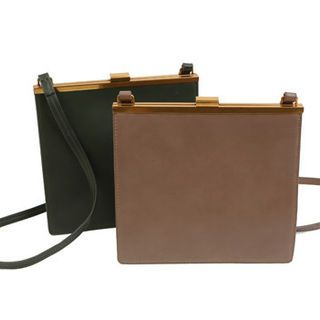 Snap-Button Square Crossbody Bag With Strap