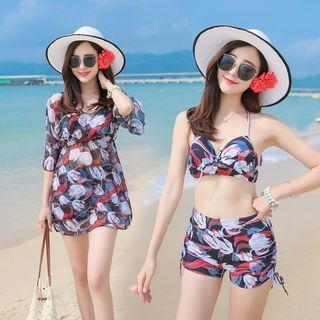 Set: Printed Bikini Top + Swim Shorts + Cover-Up 1060433482