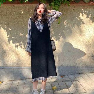 Image of Set: Long-Sleeve Plaid Midi Shirtdress + Sleeveless Midi Knit Dress