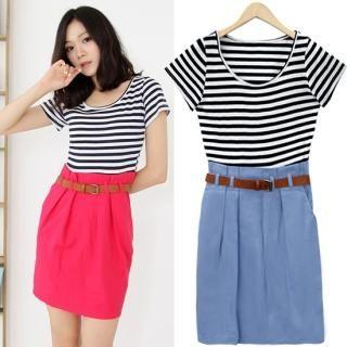 Buy HUE IT GIRL Stripe Short-Sleeve Mock Two-Piece Dress 1022932221