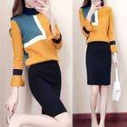 Set: Color Block Sweater + Knit Skirt 1596
