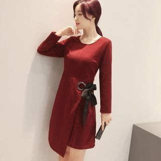 Long-Sleeve Tie-Waist Dress 1058229091