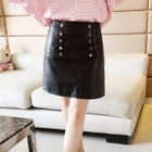 Faux-Leather Buttoned Pencil Skirt 1596