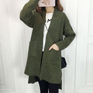 Pocketed Open Front Long Cardigan 1052920740