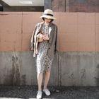 Short-Sleeve FLoral Chiffon Dress 1596