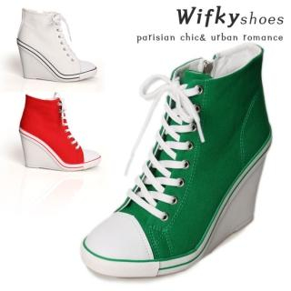 Picture of Wifky Side-Zip Sneaker Wedges 1022491781 (Sneakers, Wifky Shoes, Korea Shoes, Womens Shoes, Womens Sneakers)