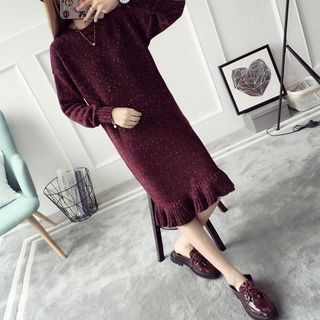 Ruffle Hem Midi Sweater Dress 1053937787