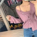 Set: V-Neck Buttoned Cardigan + Camisole Top 1596