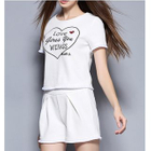 Set: Short-Sleeve Lettering T-Shirt + Shorts 1596