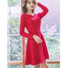 Scalloped Neckline Long Sleeve Lace Dress 1596