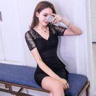 Lace Panel V-Neck Short-Sleeve Bodycon Dress 1596