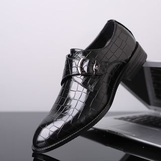 Image of Buckled Faux Leather Slip On Oxfords