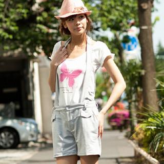 Picture of ageha@shibuya Suspender Shorts Gray - One Size 1022589696 (Womens Shorts, ageha@shibuya Pants, Japan Pants)