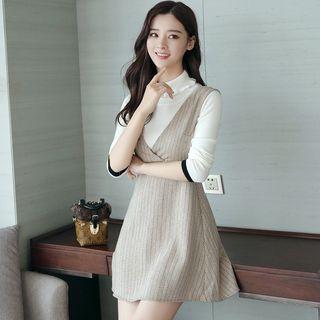 Image of Mock Two-Piece Long-Sleeve Herringbone Panel Mini A-Line Dress