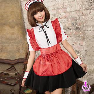 Maid Party Costume Set White & Red & Black - One Size 1036067264
