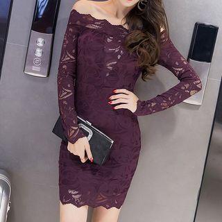 Off-Shoulder Lace Bodycon Dress 1054299775