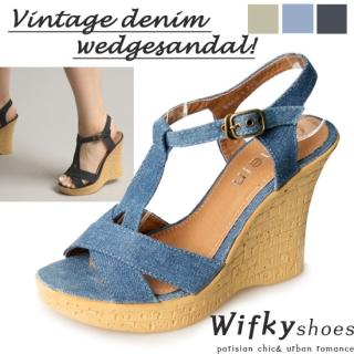 Buy Wifky Denim Wedge Sandals 1022830464
