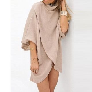 3/4-Sleeve Asymmetrical Hem Tunic 1053698707