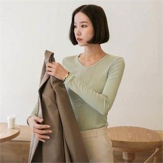V-Neck Slim-Fit Ribbed T-Shirt 1065416352