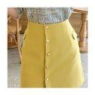 Button-Detail Pencil Skirt 1596