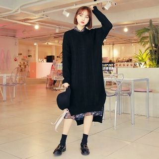 Slit-Side Long Cable-Knit Top 1064444055
