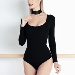 Plain U-Neck Bodysuit with Choker