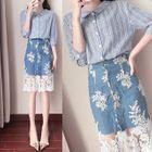Set: Striped Elbow-Sleeve Blouse + Lace Panel Denim Skirt 1596