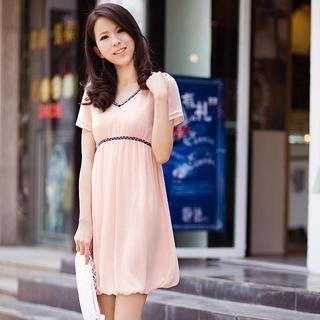 Buy HuaYuZhiLu Contrast-Trim Beaded Short-Sleeve Dress 1022945024
