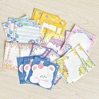 Image of Cartoon Print Memo Pad Set of 24 - Multicolour - One Size