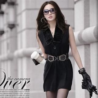 Buy Melissa Faux-Fur Collar Sleeveless Knit Top 1022108615
