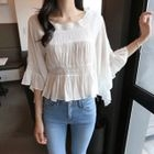 Bell-Sleeve Lace-Trim Top 1596