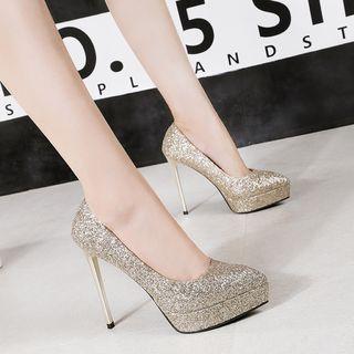 Image of Glitter Pointy-Toe Platform Stilettos