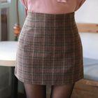 Plaid Wool Blend Mini Skirt 1596