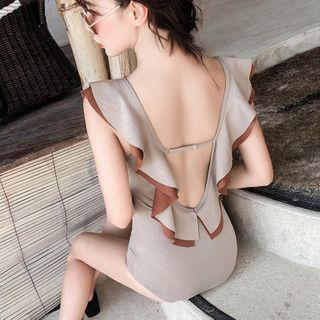Image of Cap-Sleeve Open-Back Swimsuit